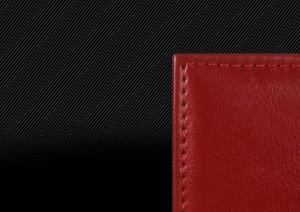 Свадебная фотокнига с красной кожаной обложкой с двойной прострочкой, прострочка по периметру