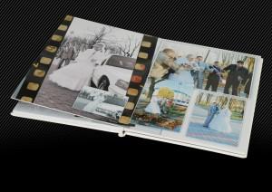 Свадебный альбом с белой кожаной обложкой оформленной двойной прострочкой, разворот