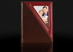 Свадебный альбом с кожаной обложкой, коричневый с бордовым, эксперименты с видом обложки